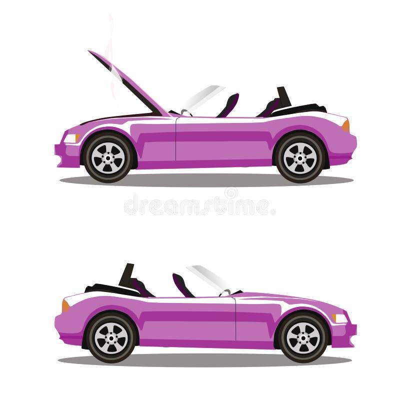 Grupo do vetor de carro desportivo cor-de-rosa do cabriolet dos desenhos animados quebrados antes e depois do impacto isolado no  ilustração stock