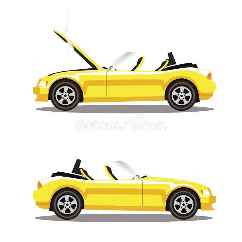 Grupo do vetor de carro desportivo quebrado do cabriolet do amarelo dos desenhos animados antes e depois do impacto isolado no br ilustração stock