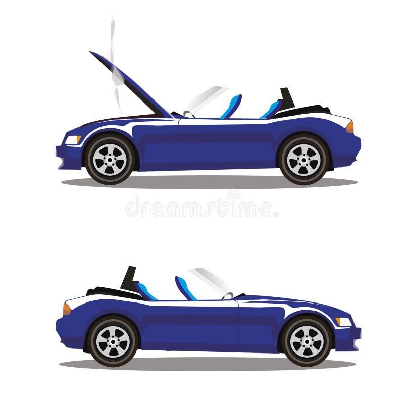 Grupo do vetor de carro desportivo quebrado do cabriolet dos azuis marinhos dos desenhos animados antes e depois do impacto isola ilustração royalty free