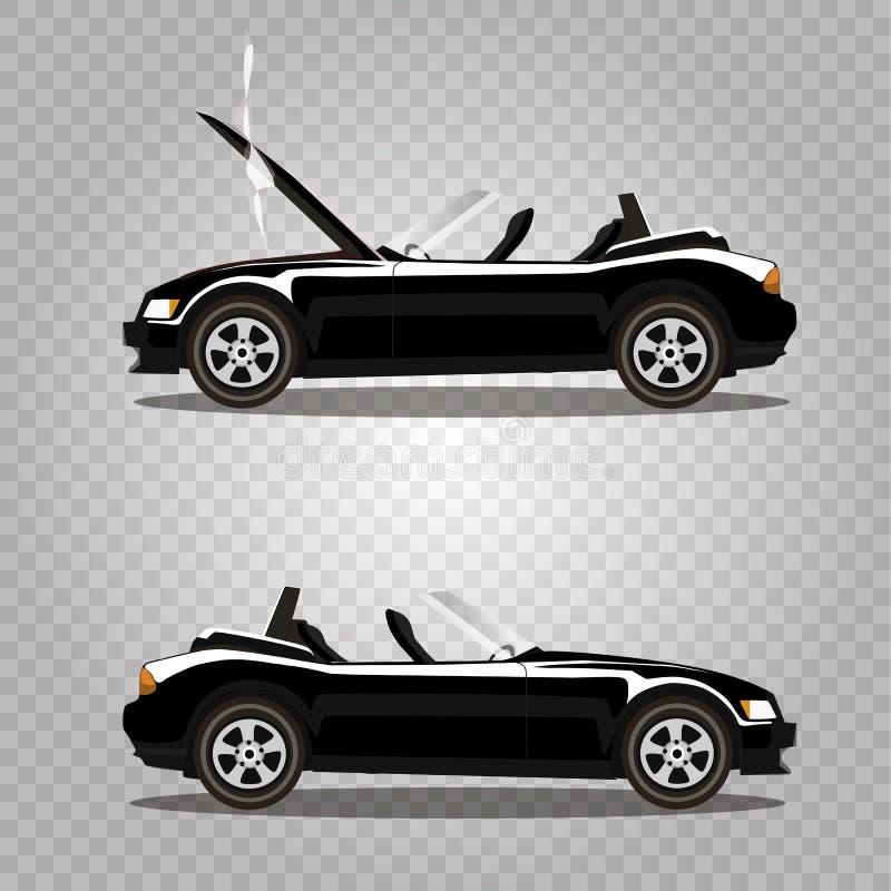 Grupo do vetor de carro desportivo quebrado do cabriolet do preto dos desenhos animados antes e depois do acidente isolado ilustração royalty free