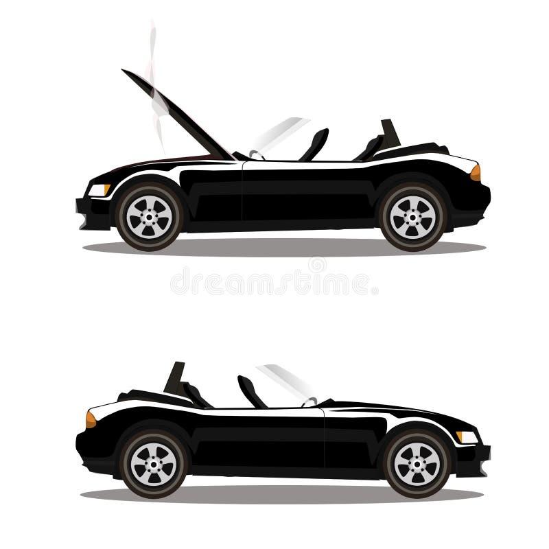 Grupo do vetor de carro desportivo quebrado do cabriolet do preto dos desenhos animados antes e depois do impacto isolado no bran ilustração royalty free
