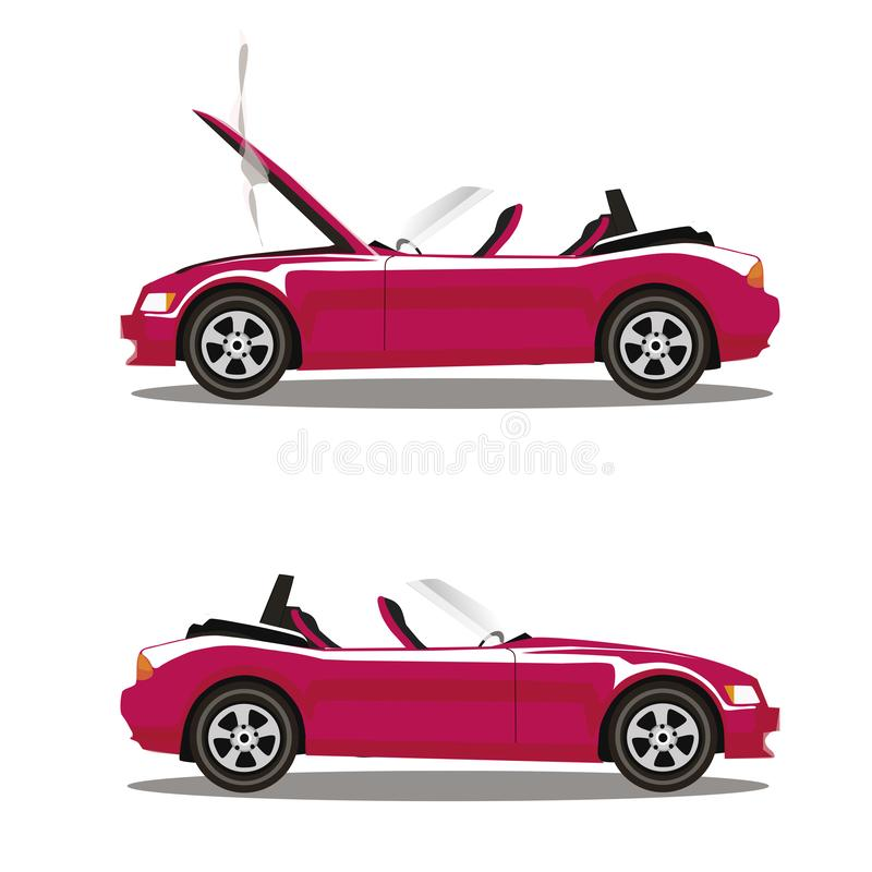 Grupo do vetor de carro desportivo quebrado do cabriolet do rosa dos desenhos animados antes e depois do impacto isolado no branc ilustração do vetor