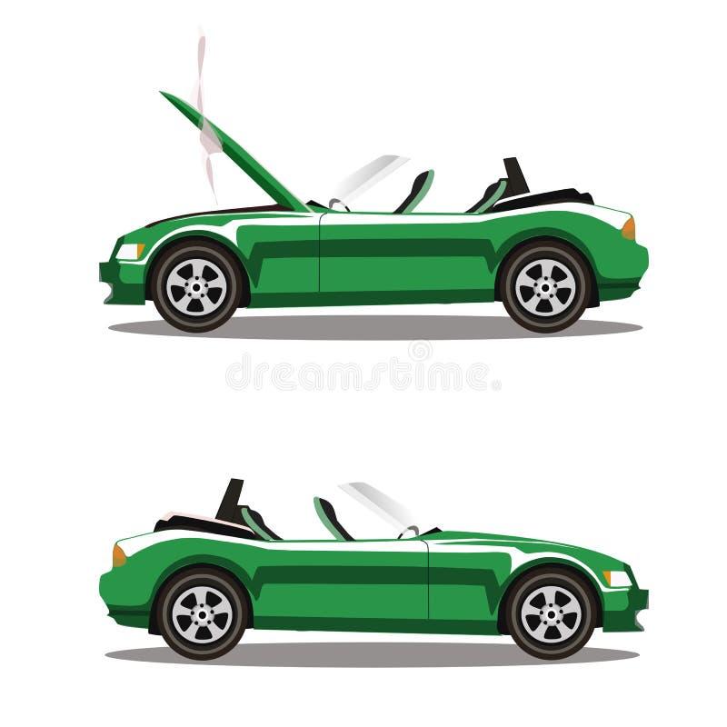 Grupo do vetor de carro desportivo quebrado do cabriolet do verde dos desenhos animados antes e depois do impacto isolado no bran ilustração stock