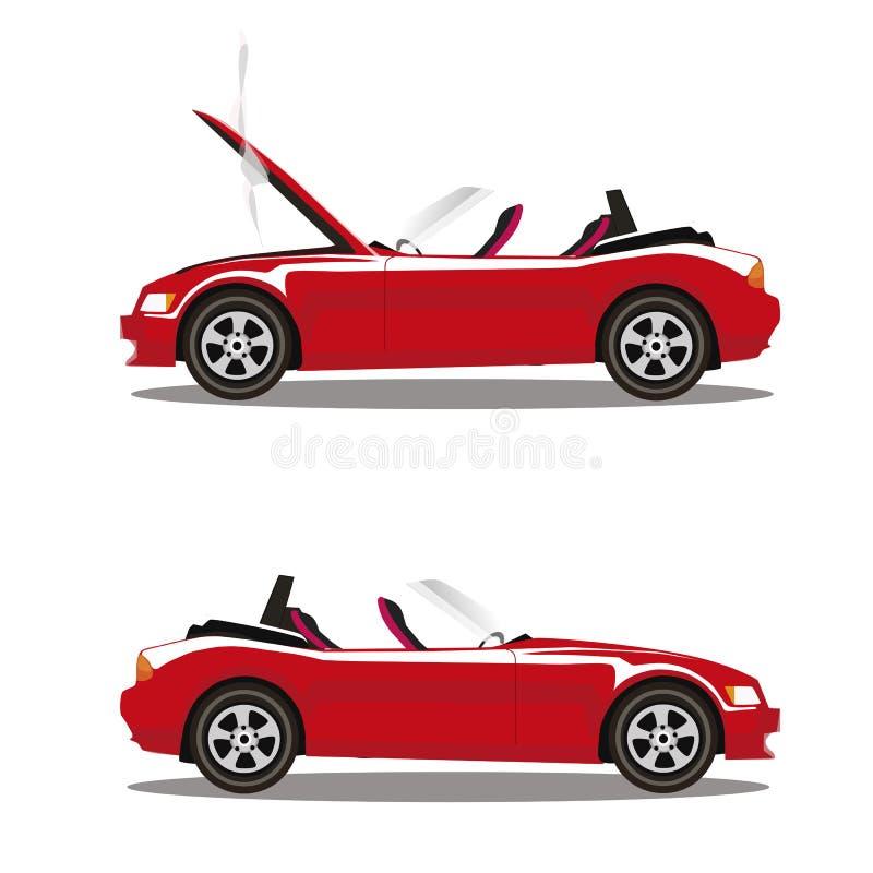 Grupo do vetor de carro desportivo vermelho do cabriolet dos desenhos animados quebrados antes e depois do impacto isolado no bra ilustração stock