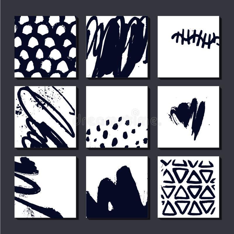 Grupo do vetor de cartões artísticos, posterls, composições tiradas mão da arte Pode ser usado como o fundo, a tampa, o inseto et ilustração do vetor