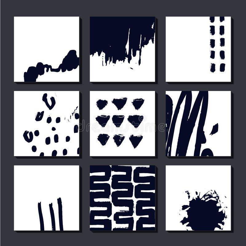 Grupo do vetor de cartões artísticos, posterls, composições tiradas mão da arte Pode ser usado como o fundo, a tampa, o inseto et ilustração stock