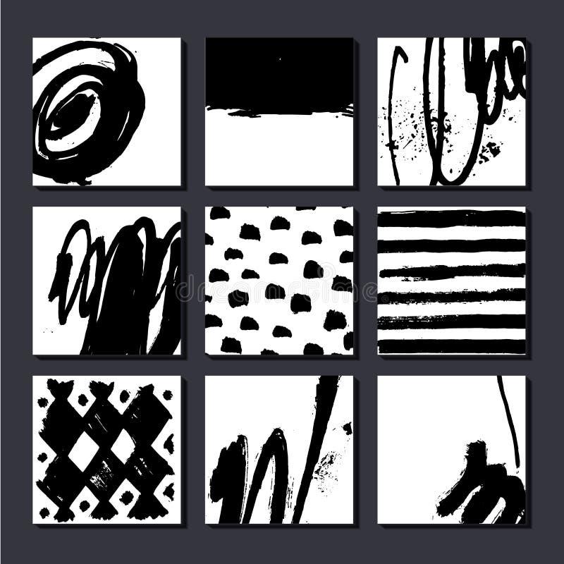 Grupo do vetor de cartões artísticos, posterls, composições tiradas mão da arte Pode ser usado como o fundo, a tampa, o inseto et ilustração royalty free