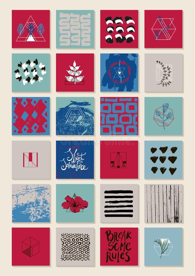 Grupo do vetor de cartões artísticos quadrados, bandeiras, tampas, folhetos, insetos Texturas tiradas mão, ilustrações, fundos ilustração stock