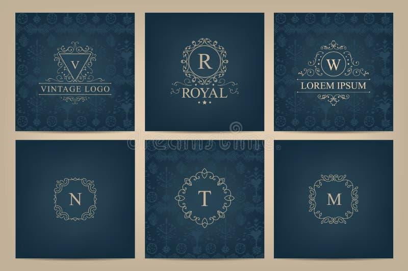 Grupo do vetor de cartões com logotipos do monograma, quadros ilustração stock