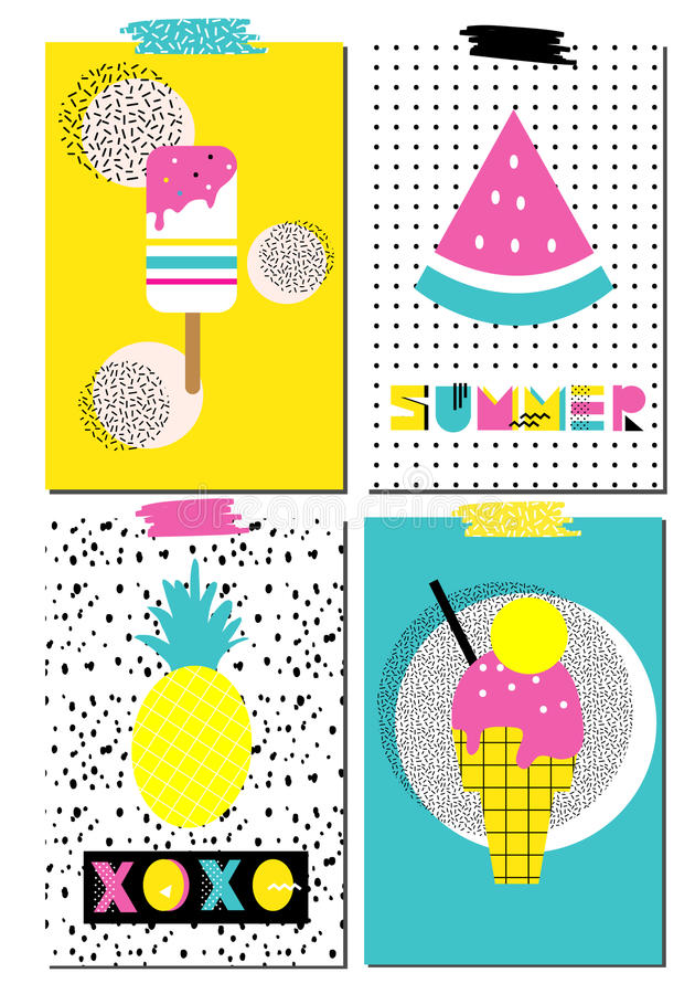 Grupo do vetor de cartões escandinavos Cartazes do verão ilustração stock