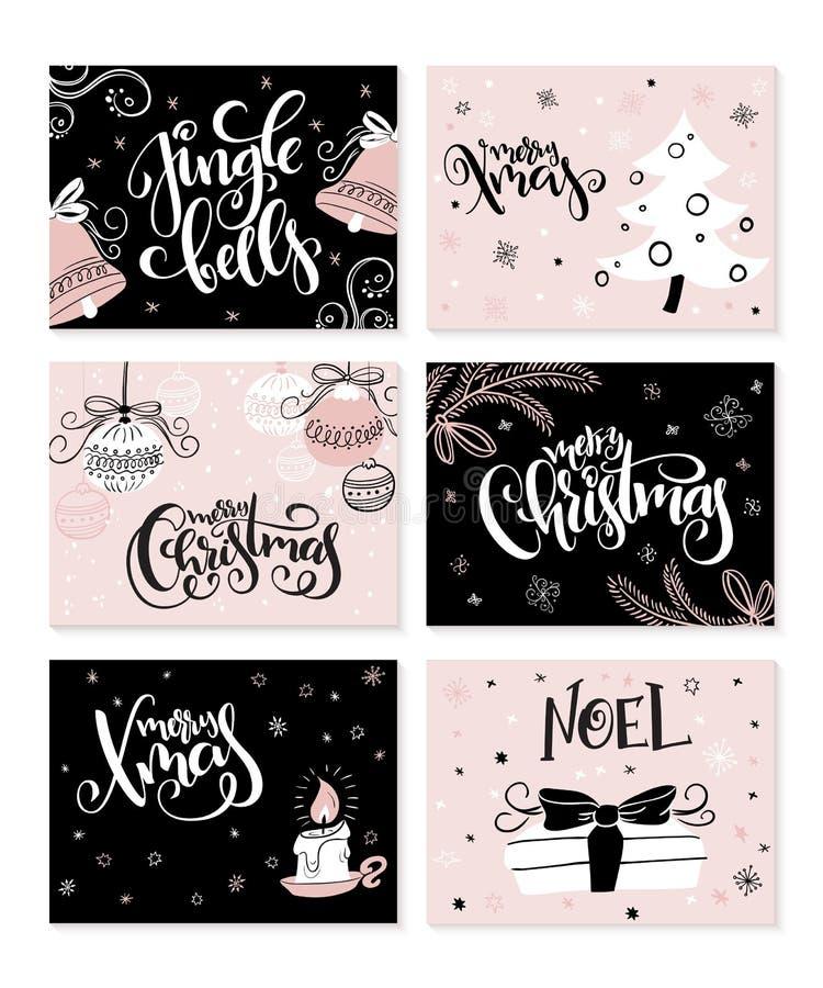 Grupo do vetor de cartões do Natal com frases da rotulação da mão e elementos e caráteres decorativos ilustração do vetor