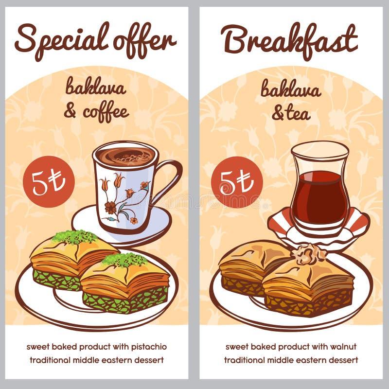 Grupo do vetor de cartões para a oferta especial do menu do baklava turco da sobremesa ilustração royalty free