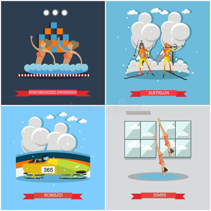 Grupo do vetor de cartazes lisos do inverno e do conceito dos esportes de água ilustração stock