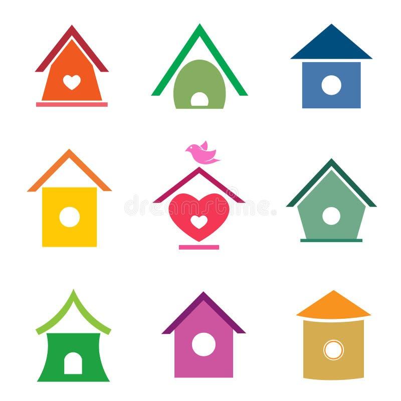 Grupo do vetor de casas do pássaro ilustração do vetor