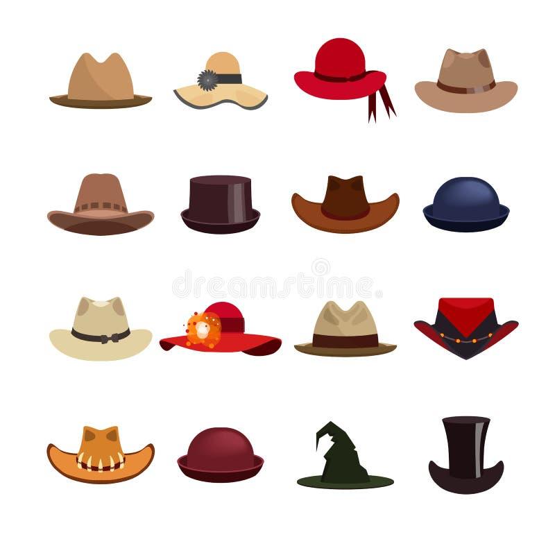Grupo do vetor de chapéus do homem e da mulher ilustração do vetor