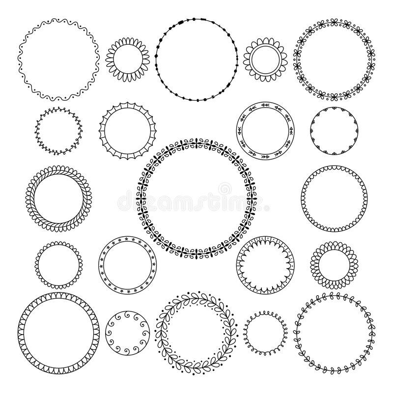 Grupo do vetor de circularmente e quadro decorativo circular para o projeto ilustração royalty free