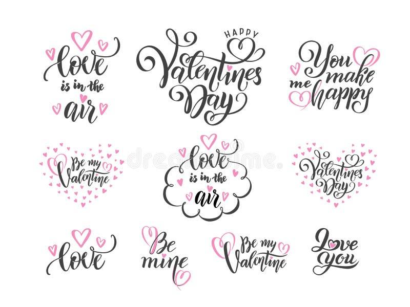 Grupo do vetor de citações das frases do amor da rotulação da mão preta ao dia de Valentim, conceito do amor, molde do projeto do ilustração stock