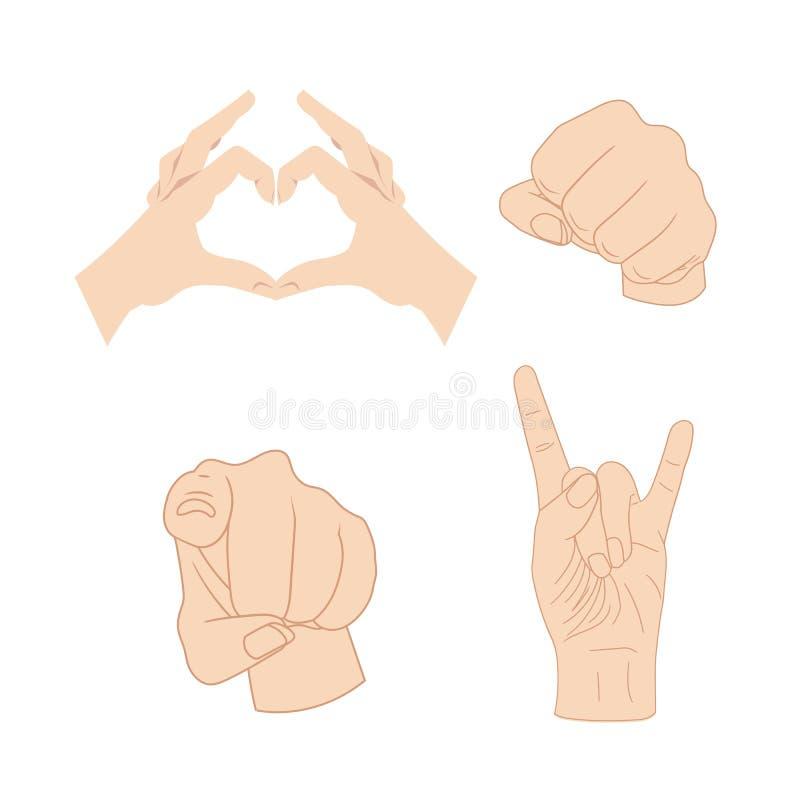 Grupo do vetor de coleção gesticulando, linguagem gestual isolada da mão, símbolo do coração do amor, punho, rocha e apontando o  ilustração stock