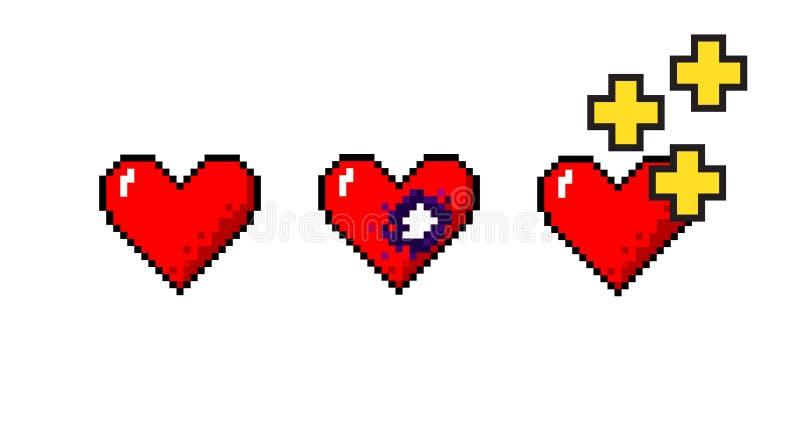 Grupo do vetor de conceitos médicos dos corações do pixelart ilustração royalty free