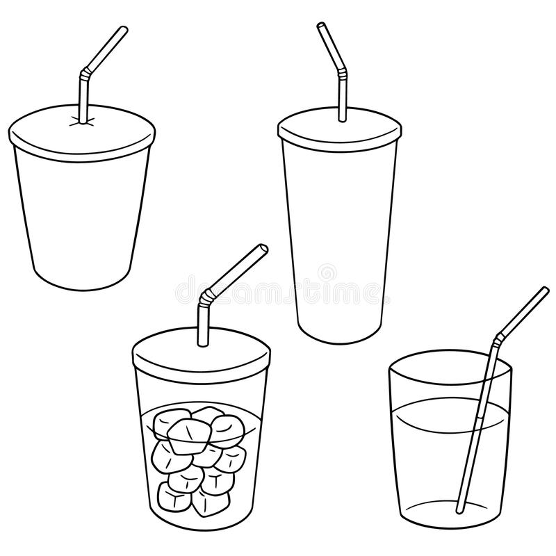 Grupo do vetor de copo da bebida ilustração stock