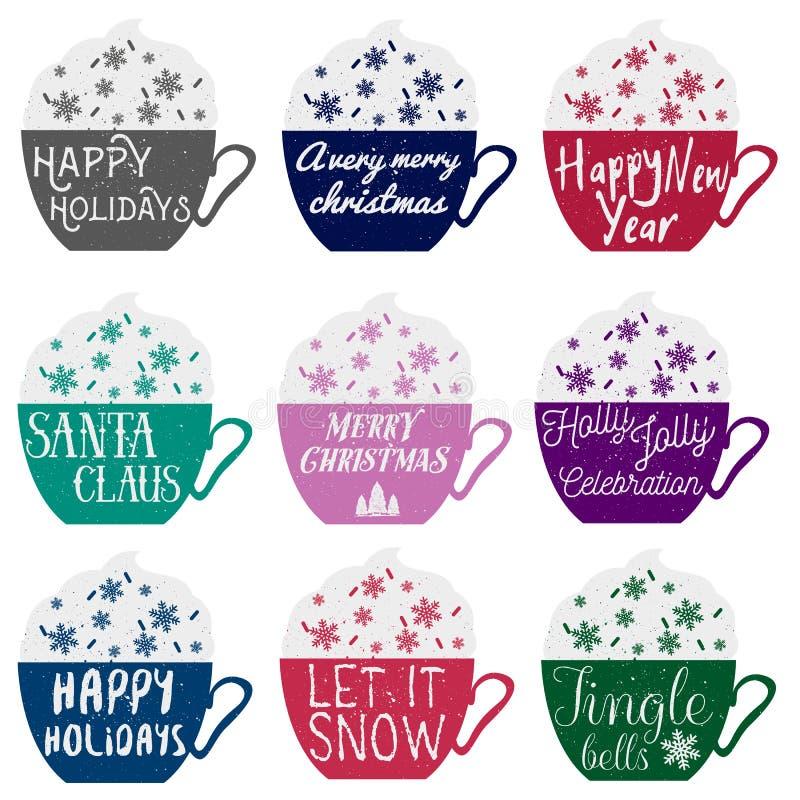 Grupo do vetor de copos da cor com rotulação do conceito dos feriados de inverno ilustração stock