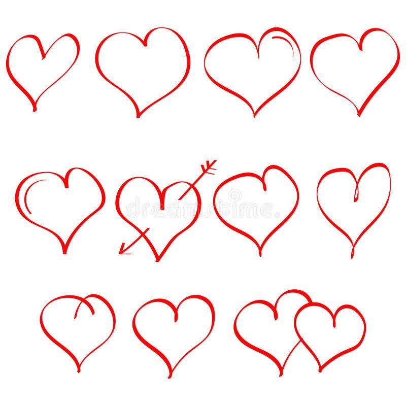 Grupo do vetor de coração tirado mão Símbolo do amor Elemento para o projeto do dia de Valentim Isolado no fundo branco ilustração do vetor