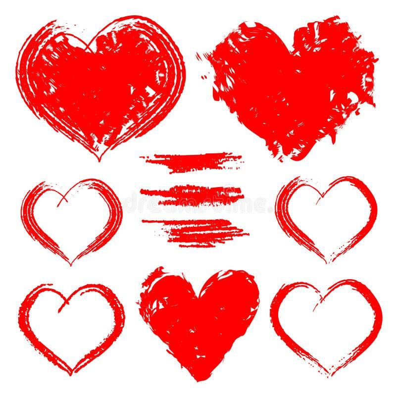 Grupo do vetor de corações tirados mão isolados no fundo branco ilustração do vetor