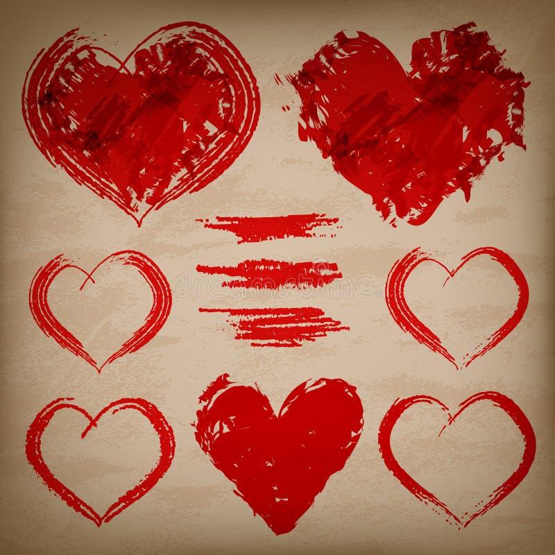 Grupo do vetor de corações tirados mão no backgroun de papel ilustração royalty free