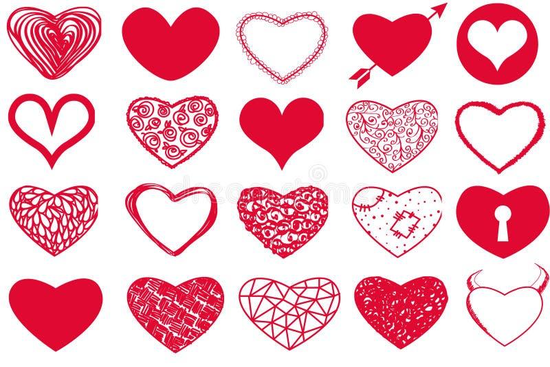 Grupo do vetor de corações vermelhos do dia do ` s do Valentim no fundo branco ilustração royalty free