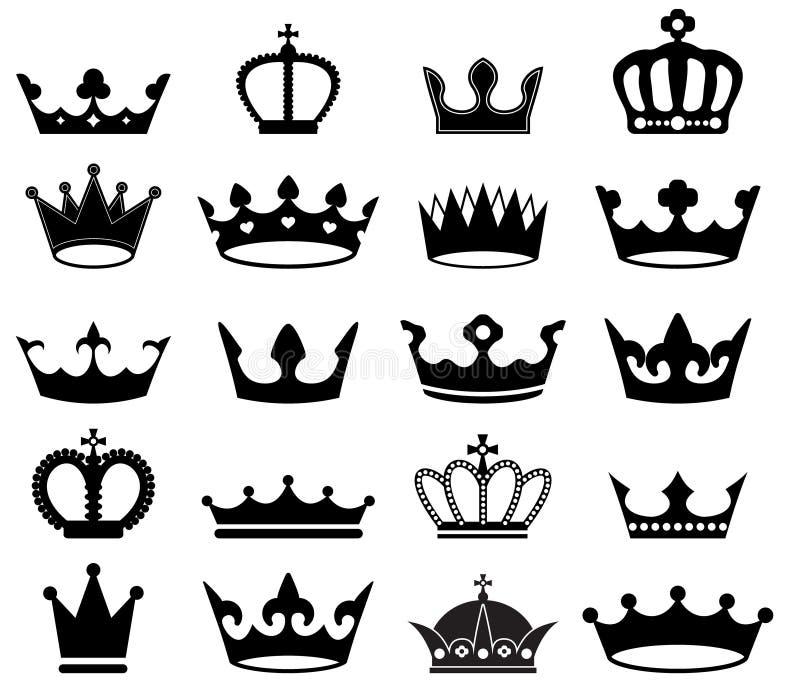 Grupo do vetor de coroas retros ilustração do vetor