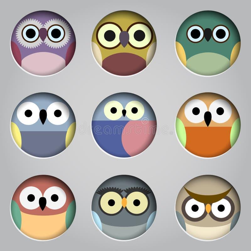 Grupo do vetor de corujas bonitos dos ícones do app ilustração do vetor