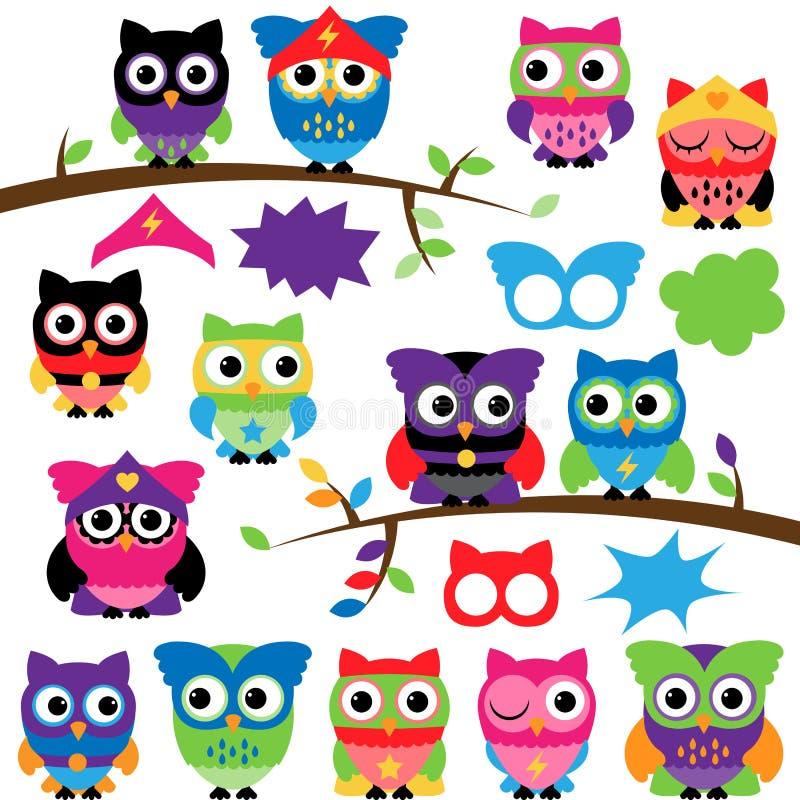 Grupo do vetor de corujas do super-herói com ramos e bolhas do discurso ilustração stock