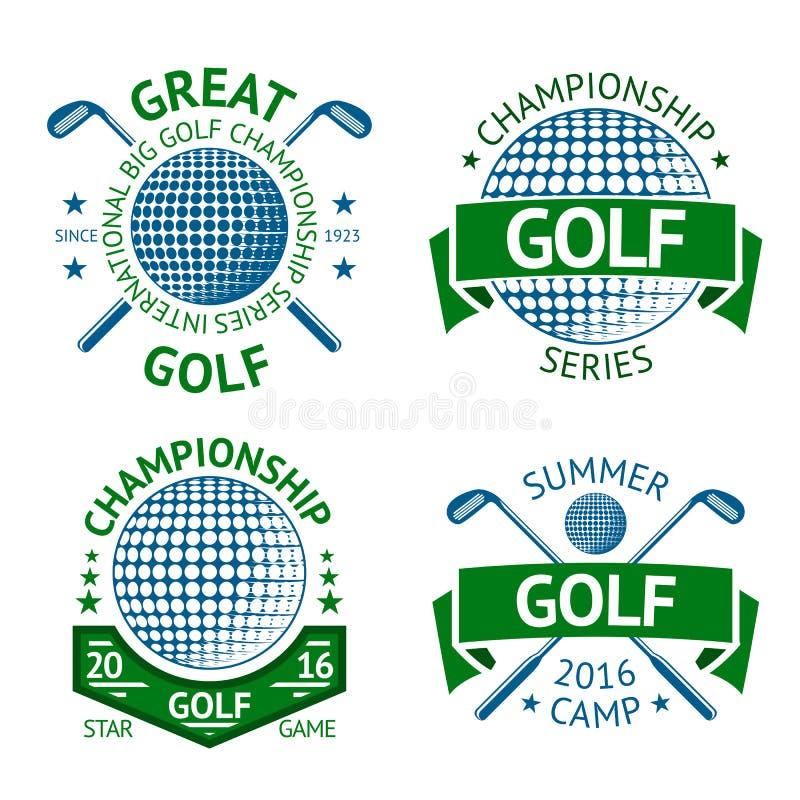 Grupo do vetor de crachás do golfe, de moldes do logotipo, etc. Com clube e bola ilustração do vetor