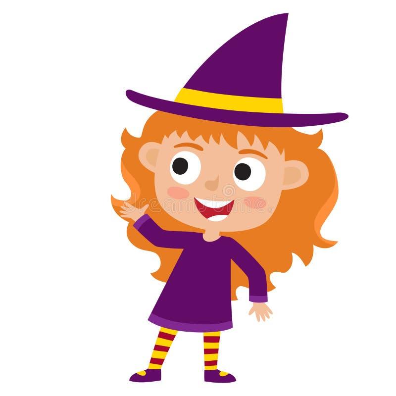 Grupo do vetor de criança bonito dos desenhos animados em wi coloridos do traje do Dia das Bruxas ilustração stock