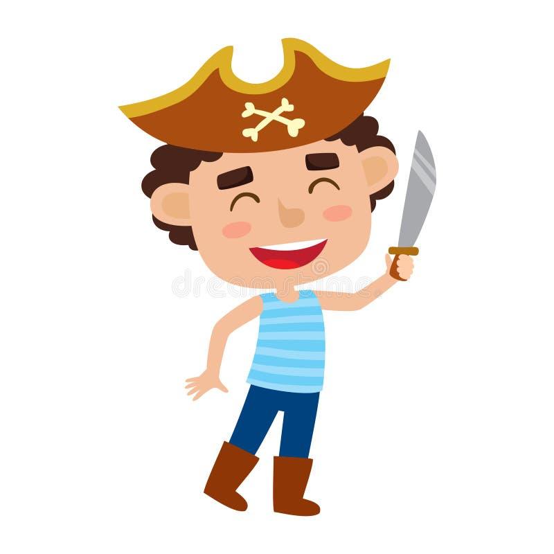 Grupo do vetor de criança bonito dos desenhos animados no traje colorido do Dia das Bruxas ilustração royalty free