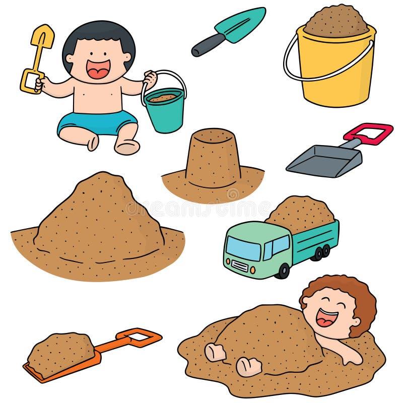 Grupo do vetor de criança que joga a areia ilustração stock