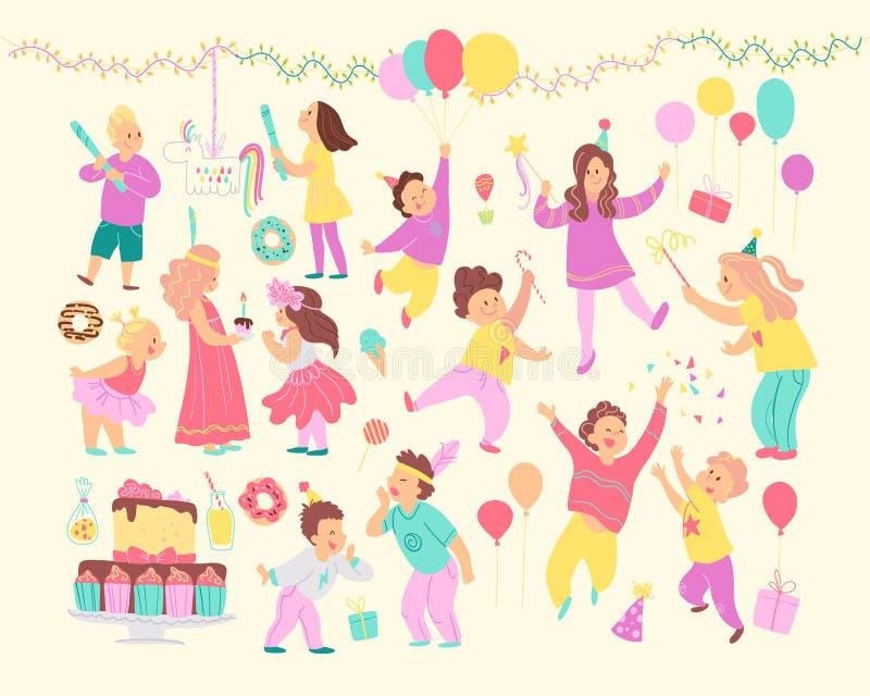 Grupo do vetor de crianças felizes que comemoram a festa de anos e elementos diferentes da decoração - festões, bolo do BD, doces ilustração royalty free