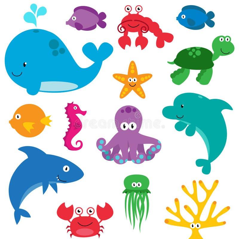 Grupo do vetor de criaturas bonitos do mar ilustração royalty free