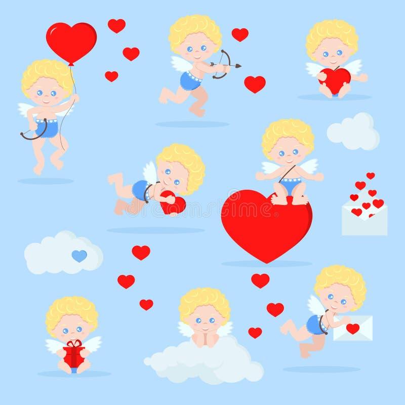 Grupo do vetor de cupidos bonitos isolados no estilo liso dos desenhos animados ilustração royalty free
