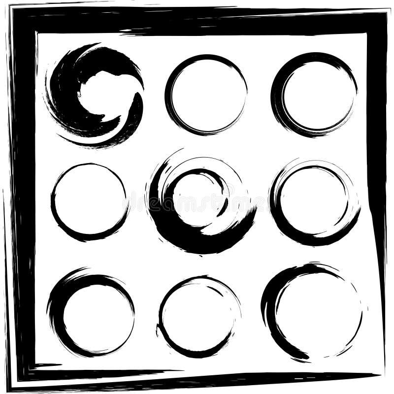 Grupo do vetor de cursos da escova do círculo do grunge. Grupo 2 ilustração royalty free
