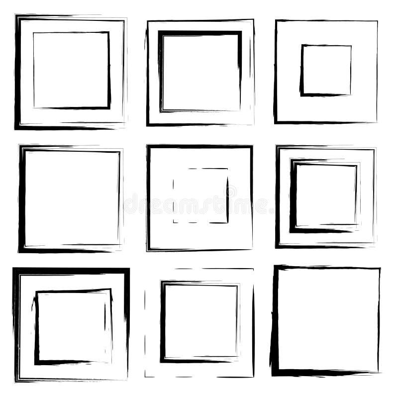 Grupo do vetor de cursos da escova do quadrado do grunge ilustração do vetor