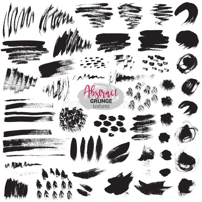Grupo do vetor de cursos pretos da escova Pintura, tinta, escovas, linhas, grunge ilustração royalty free