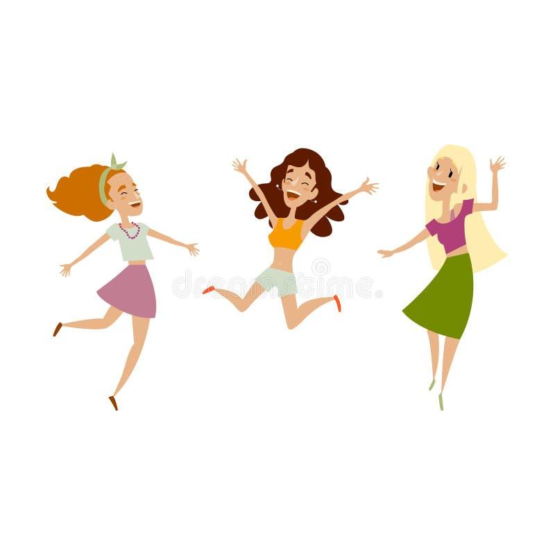 Grupo do vetor de danças engraçadas dos adolescentes fêmeas ilustração royalty free
