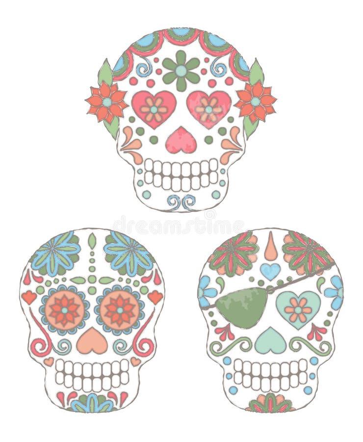 Grupo do vetor de dia do estilo da aquarela dos crânios inoperantes ilustração royalty free