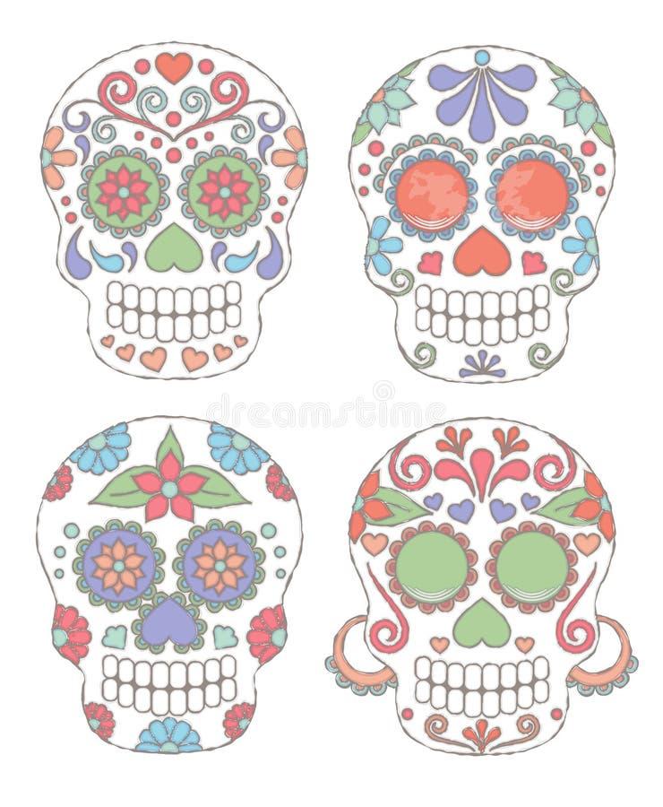 Grupo do vetor de dia do estilo da aquarela dos crânios inoperantes ilustração stock