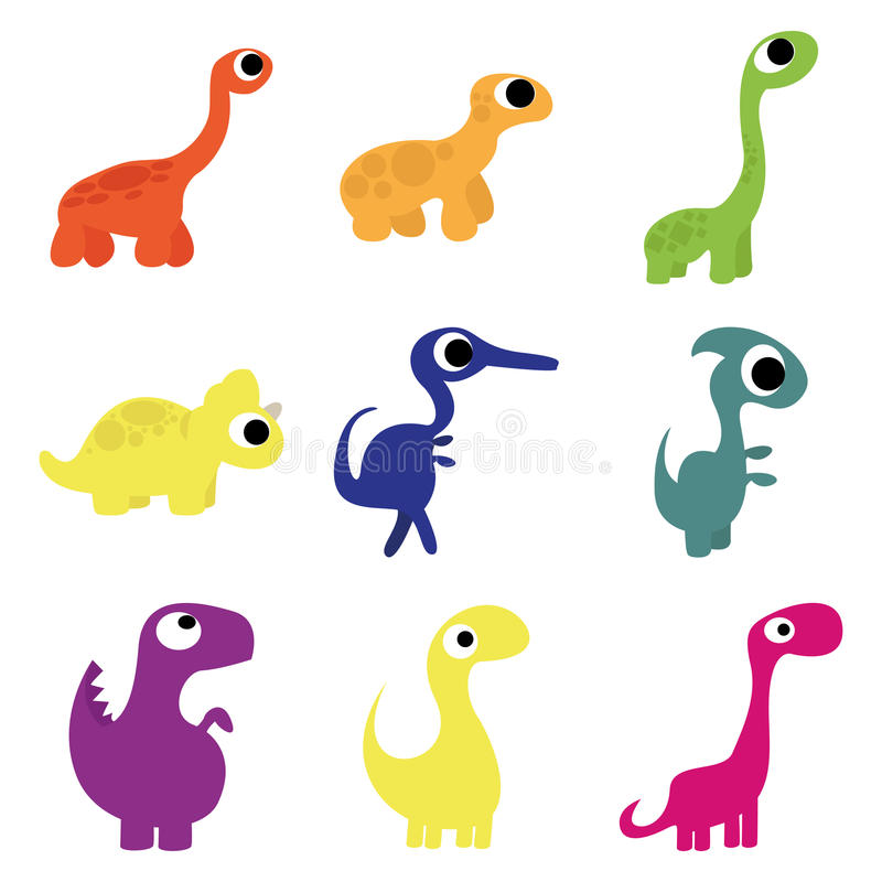 Grupo do vetor de dinossauros bonitos diferentes dos desenhos animados ilustração royalty free