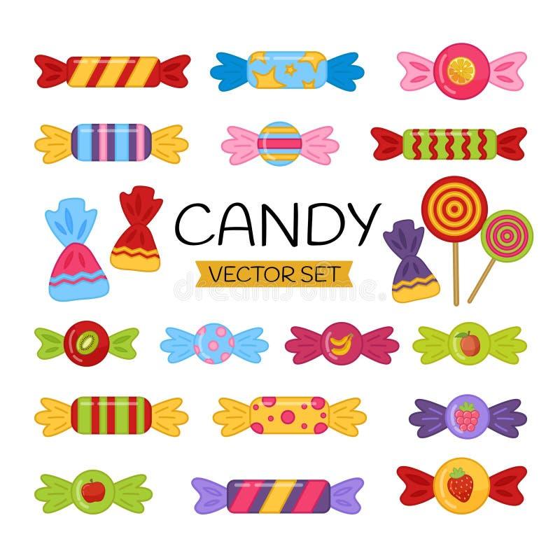 Grupo do vetor de doces dos desenhos animados ilustração do vetor