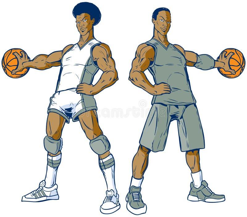 Grupo do vetor de dois modernos e de jogadores de basquetebol retros ilustração royalty free