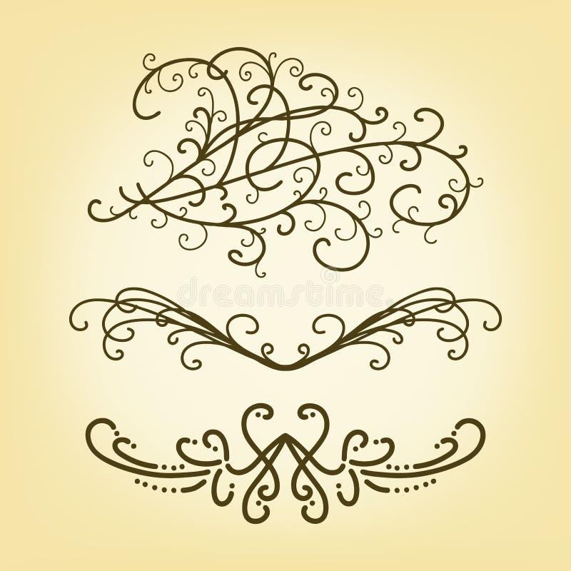 Grupo do vetor de elementos bonitos da beira ou do projeto do traço ou de divisores do texto do parágrafo ilustração do vetor