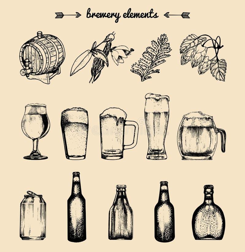 Grupo do vetor de elementos da cervejaria do vintage Coleção retro de ícones ou de sinais da cerveja Cerveja pilsen, símbolos tir ilustração stock
